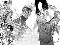 Eren rips Bertolt out of the Colossus Titan