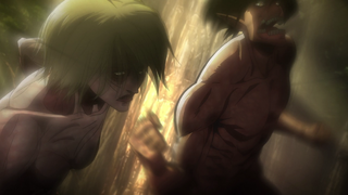 Eren strikes the Female Titan