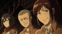 Mikasa, Connie und Sasha befragen Marlo über Hitch