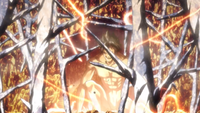 Eren's Titan creates a web of hardened pillars