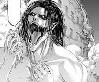 Eren about to eat Willy's sister, as Galliard goes to attack him