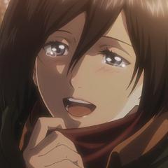 Mikasa le agradece a Eren por darle la bufanda.