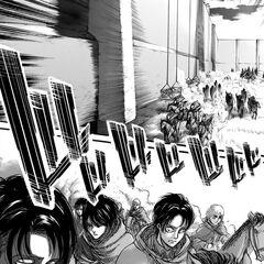 Levi avanza junto a su escuadrón.