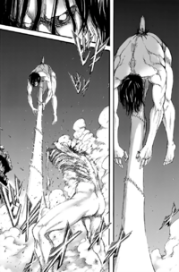 Eren is impaled by the War Hammer Titan