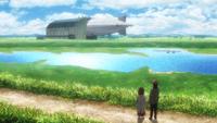 Fay und Grisha sehen ein Luftschiff