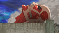 The Colossal Titan swallows Eren
