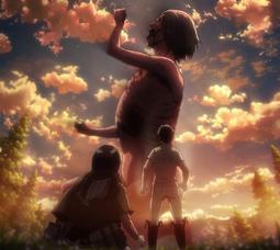 Eren et Mikasa face au Titan Souriant (épisode 37)