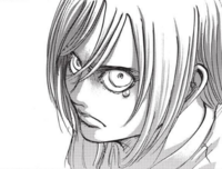 Historia looking angry at Eren