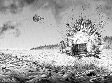 Zeke detonates the Thunder Spear