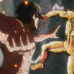 Eren se enfrenta al Titán Acorazado.