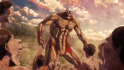 Titan Cuirassé se faisant attaquer par les Titans