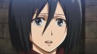 A stunned Mikasa