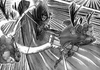 Hange, Moblit i Cage atakują Tytana Kolosalnego