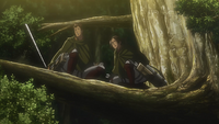 Bertholdt and Ymir see the Titans running