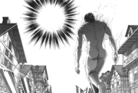 Eren approaching Reiner as the latter transforms to fight him