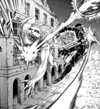 Mikasa strikes the Jaw Titan with a Thunder Spear