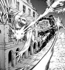 Mikasa strikes the Jaw Titan with a Thunder Spear