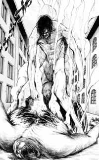 Eren bursts out of the Bearded Titan's body