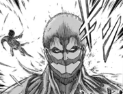 Mikasa attacks Armored Titan
