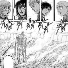 Eren es noqueado por el Titán Colosal.