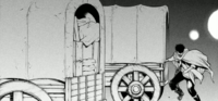 Kuklo sneaks into a wagon