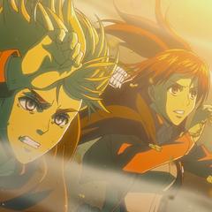 Sasha y Armin observan a los traidores transformandose.