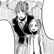 Mother and daughter who notice a charging Abnormal character image