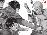 Mikasa slashing Reiner