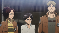 Hange and Mike escort Eren