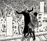 Hanji hält Pastor Nick über den Rand der Mauer