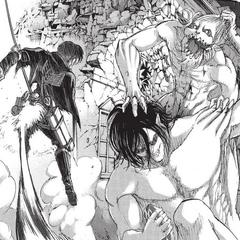 Levi contra el Titán Mandibula.