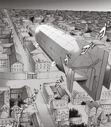 The Survey Corps' airship flies over Liberio (1)