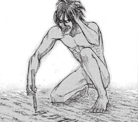Eren in Titan form remembers his father's fate