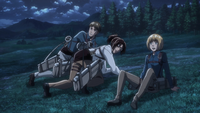 Moblit, Hange, and Armin get clear of the chapel