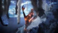 Der kolossale Titan wirft Trümmer durch Shiganshina