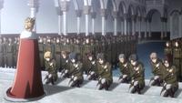 Die Soldaten knien vor Historia nieder