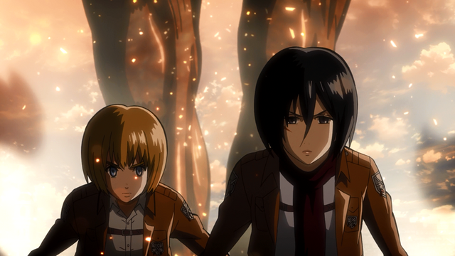 File:Mikasa and Armin followed by Titan Eren.png