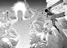Mikasa attacks the War Hammer Titan with Thunder Spears