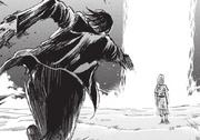 Eren poursuit Ymir malgré les chaînes qui l'emprisonnaient