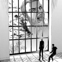 Mikasa kills a Titan at headquarters