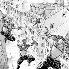Levi confronta al escuadrón de Kenny.