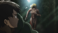 Female Titan chases Eren