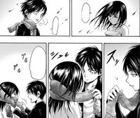 Eren gives his scarf to Mikasa
