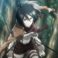 Mikasa durante su entrenamiento.