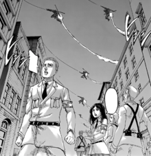 Pieck and Porco witness the arrival of the Survey Corps