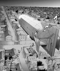 The Survey Corps' airship flies over Liberio