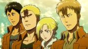 Bertolt, Reiner, Annie et Jean témoins du saccage d'Eren