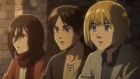 Eren, Mikasa, and Armin see a soldier