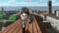 Eren charges at the Titan that ate Thomas