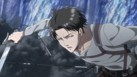 Levi counts soldiers through the smoke screen